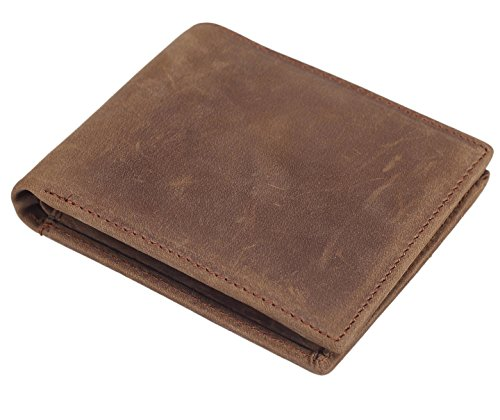 Polare Men's RFID Blocking Vintage Italian Genuine Leather Slim Bifold Wallet Handmade (Mens Genuine Leather)