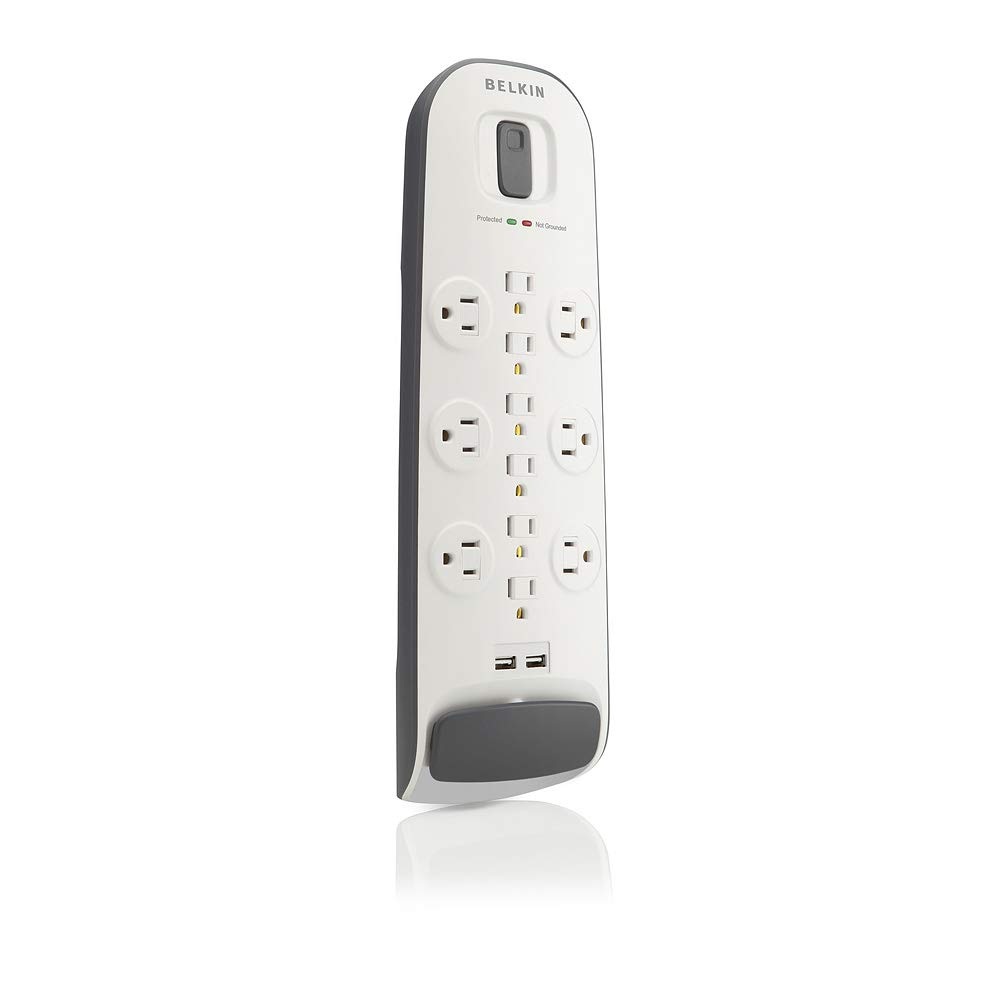 Belkin 12-Outlet USB Power Strip Surge Protector w/Flat Plug, 6ft Cord - Ideal for Computers, Home Theatre, Appliances, Office Equipment (3,996 Joules)