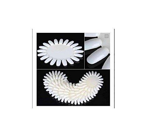 350Buy 10 X Ivory-White Acrylic Wheel False Nail Art Tips Practice Display Tool Well-goal