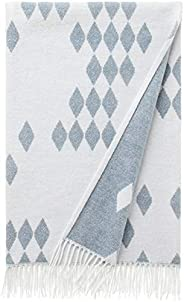 "Amazon Brand – Rivet Geometric Diamond Jacquard Reversible Throw Blanket, 50""x60"", Bl"