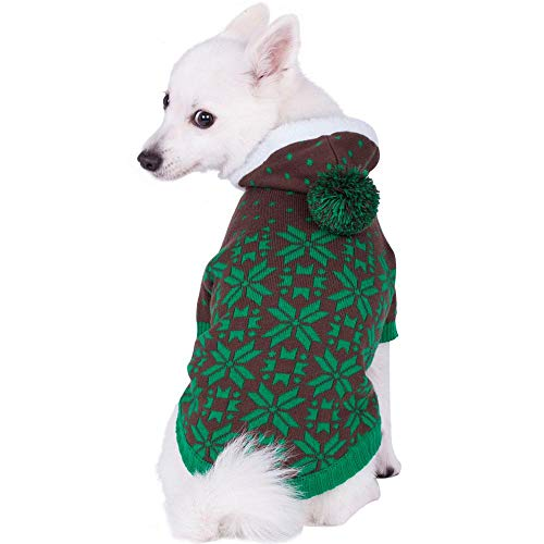 Blueberry Pet 2 Colors Let It Snow Classic Ugly Christmas Holiday Snowflake Pullover Hoodie Dog Sweaters