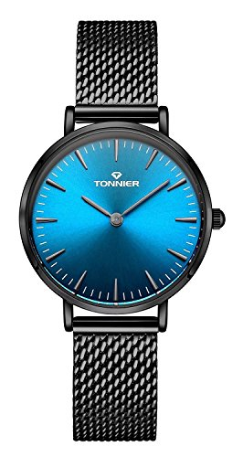 Tonnier Black Slim Stainless Steel Mesh Strap Women Watch Ocean Depths Blue Watch Face