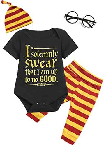 ff7686c3fb Outfit Set Baby Boy Girls I Solemnly Swear That I am Up to No Good Romper