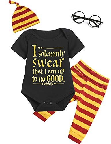 Outfit Set Baby Boy Girls I Solemnly Swear That I am Up to No Good Romper (Yblack03, 6-12 Months)