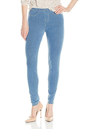 No Nonsense Women's Classic Denim Legging, Light Denim, L (Women Light Wash)