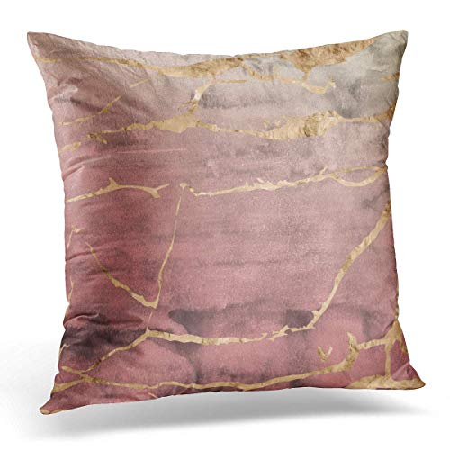 XuLuo Throw Pillow Covers Case Abstract Rose Gold Metallic Marble Design Overlaid on Hand Watercolor in Ombre Quartz Pink Agate Decorative Pillowcase Cushion Cover 18 x 18 Inches (Rose Gold Agate White)