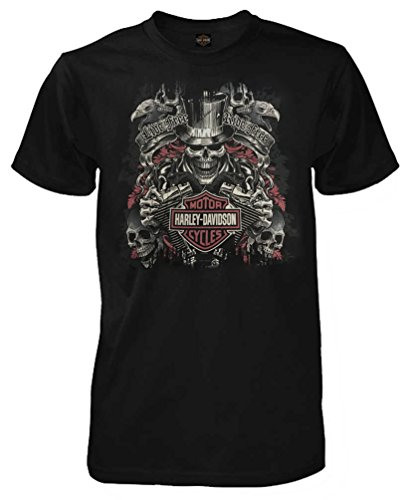 Harley-Davidson Men's Top Hat Skeleton Short Sleeve T-Shirt, - Black Harley Davidson Shirt