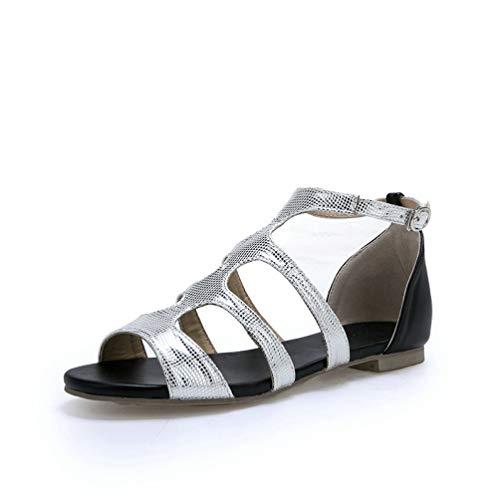 (JOYBI Women Fashion Flat Sandals PU Leather Comfort Slip On Buckle Peep Toe Ladies Low Heel Sandal Shoes Silver)