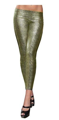 SACASUSA (TM) Sexy Stretchy Metallic Snake Skin Print Footless Leggings S-M in Gold