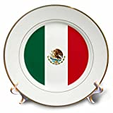 3dRose cp_158374_1 World Flag of Mexico-Mexican Green White Red Vertical Stripes-Eagle Serpent Cactus Coat of Arms-Porcelain Plate, 8-Inch