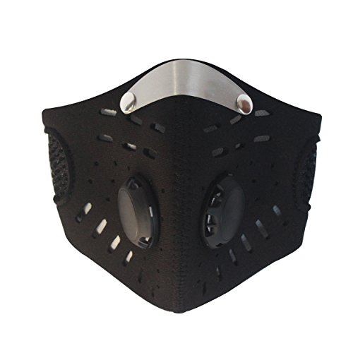 Anti Dust/Pollution PM2.5 Wind Cold-proof Mouth-muffle Warm Face Mask with Active Carbon Air Filter for Cycling Bicycle Mountain Bike Motorcycle Ski Outdoor Sports(Black)