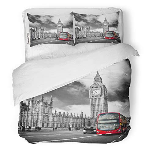 Semtomn Decor Duvet Cover Set King Size Red Houses of Parliament and Westminster Bridge in London 3 Piece Brushed Microfiber Fabric Print Bedding Set Cover