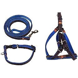 Barlingrock Puppy Collars for Small Dog, 3Pcs/Set Strong Denim Dog Pet Adjustable Nylon Vest Lead Traction Rope Collar, Adjustable Collars for Doggy