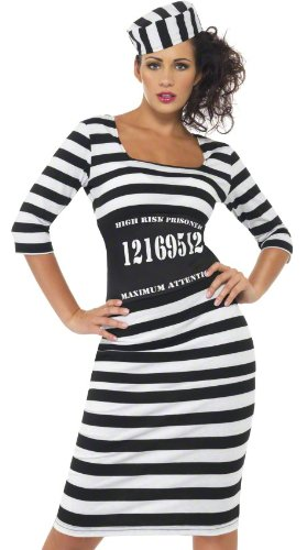 Convict Costume Uk (Smiffys Sexy Convict Womens Jailbird Prison Halloween Costume Large)