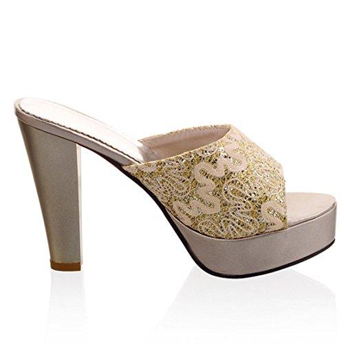 AIYOUMEI Damen Peep Toe Blockabsatz Heel Plateau Pantoletten mit Glitzer und Spitz Bequem Modern Sandalen Schuhe  41 EUSchwarz