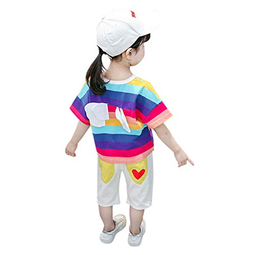 - iZZZHH Toddler Baby Boy Girl Kid Rainbow Wing Stripe Tops T-Shirt Shorts Outfits Set Boy T-Shirt+Pants (90, Purple)