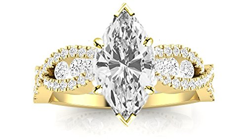 14K Yellow Gold 1.1 CTW Designer Twisting Eternity Channel Set Four Prong Diamond Engagement Ring w/0.5 Ct Marquise Cut G Color VVS2 Clarity Center -