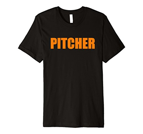 Funny Matching Costumes (Mens Halloween Pitcher Catcher Funny Matching Costume T Shirt Small Black)