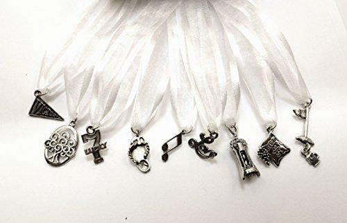 (Uplifting Wedding Cake Pull Charms - White Ribbon - Set of Nine (9))