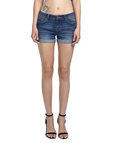 Isolde Stretch Denim Short For Girls and Women (14, Medium Blue) Denim Stretch Shorts