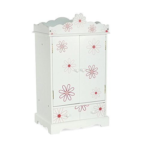 18 Inch Doll Closet Floral Design | Doll Clothes Storage Furniture Armoire with Hangers | Fits 18