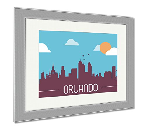 Ashley Framed Prints Orlando USA Skyline Silhouette, Wall Art Home Decoration, Color, 34x40 (frame size), Silver Frame, - Orlando Downtown Disney Shops