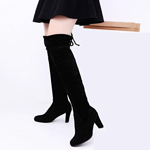 Shoes Boots High Women Over The Heels Faux High Black Boots Stretch Slim Knee Kolylong fashion 4FanqR