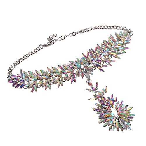 Holylove Crystal Statement Necklace Choker Chain Jewelry in Crystal Beads Gift Box-HLN0006 Crystal