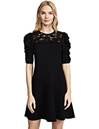 Women's Short Sleeve Crepe Lace Dress
