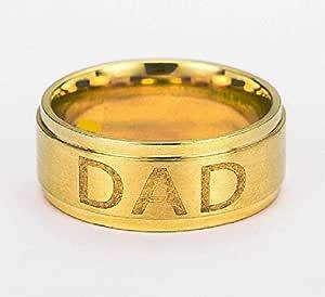 خاتم من الفولاذ المقاوم للصدأ من التيتانيوم مع حروف (DAD) 21K مطلي بالذهب مقاس 11
