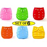 Babymoon (Set of 6) Washable Baby Diaper Premium Cloth Diaper Reusable, Adjustable Size, Waterproof, Pocket Cloth Diaper Nappie (\Without Insert)