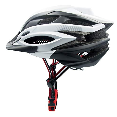 Adult Cycling Bike Helmet Mountain Bike Helmet for Men Women Safety Protection Adjustable Road Cycling Bicycle Helmet Ultralight Detachable Visor Inner Padding Chin Protector and Rear LED Tail (white)