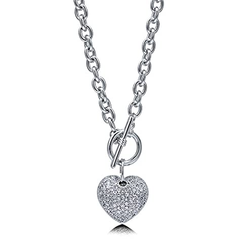 BERRICLE Rhodium Plated Base Metal Cubic Zirconia CZ Heart Toggle Fashion Pendant Necklace 18