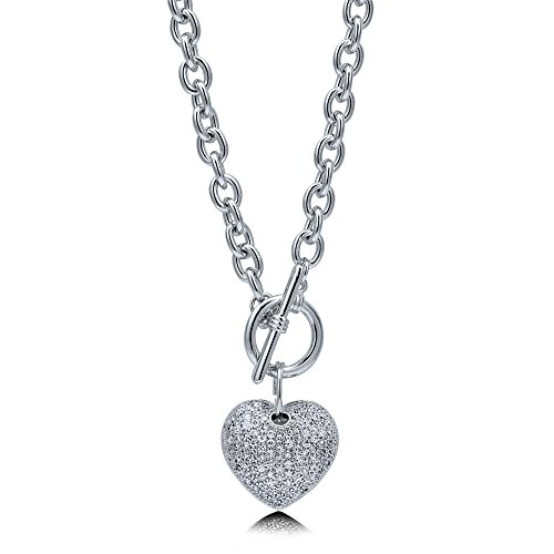 BERRICLE Rhodium Flashed Base Metal Cubic Zirconia CZ Heart Toggle Anniversary Wedding Pendant Necklace