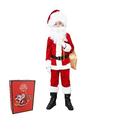ELFJOY Children's Santa Suit Kids Christmas Halloween Costume Cosplay Set of 10 Pieces (Medium)