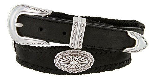 [Arizona Southwestern Conchos Western Leather Scalloped Belt Black 48] (Concho Western Leather)