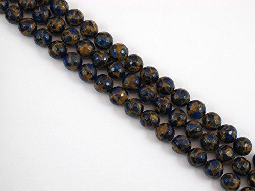 BRCbeads Quartz Mosaic Quartz 12mm Faceted Round Shape Blue Color Approx 15.5 Inch 33pcs