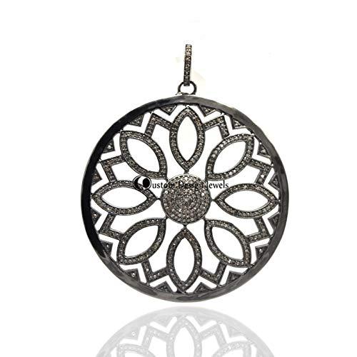Pave Diamond Pendant, Pave Diamond Medallion Pendant - Pave Diamond Designer Pendant, 925 Silver Pendant Jewelry