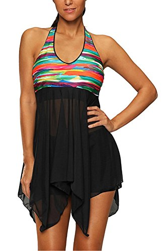 AMAGGIGO Swimsuit for Women Tankini 2 Piece Colourful Backless ...