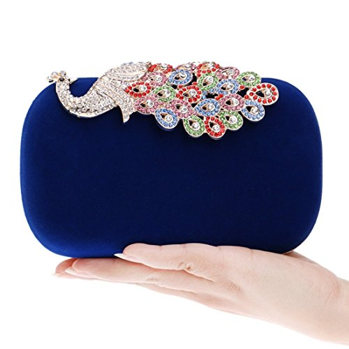 Bag Evening encrusted Banquet bag Black Bag Bag evening Evening Blue Ladies European American Diamond Fashion And Peacock Fly Color qHFBEOw1