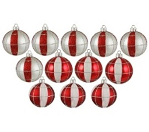 Northlight  12 Count Peppermint Twist Shatterproof White and Red Striped and Checkered Christmas Ornaments, (Peppermint Ornaments)