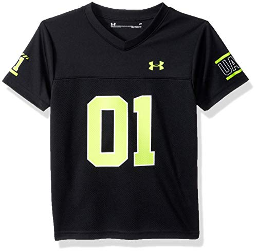 (Under Armour Boys' Toddler Short Sleeve Football Jersey Tee, Black 4T)