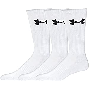 Under Armour Men's Elevated Performance Crew Socks (3 Pack), White, Large