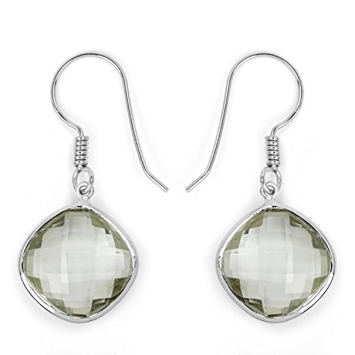 18.10 Carat Genuine Green Amethyst .925 Sterling Silver Earrings