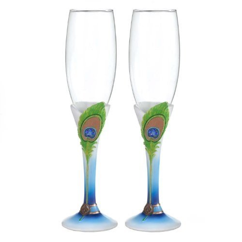 Hortense B. Hewitt Wedding Accessories Elegant Peacock Champagne Flutes, Set of - Wedding Peacock Glasses