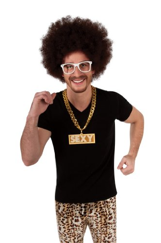 LMFAO Sexy Chain Costume Accessory, Gold, One (80s Halloween Costumes Plastic)