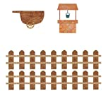 My Wonderful Walls Wall Stickers for Kids Farm Mural, Wheelbarrow-Well-Fence, Brown/Orange