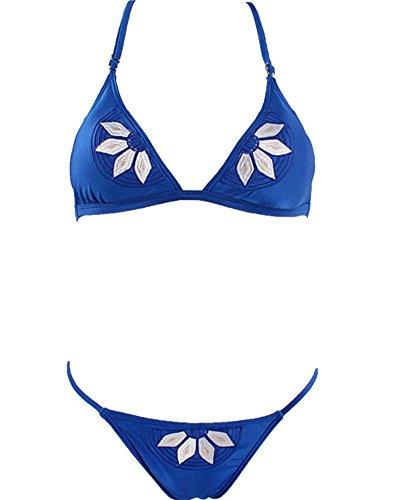 Mujeres Traje de Baño de Bikini Beachwear Swimsuit Swimwear Azul 1
