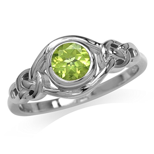 Natural Peridot White Gold Plated 925 Sterling Silver Celtic Knot Ring Size 6 (Knot Peridot Celtic)