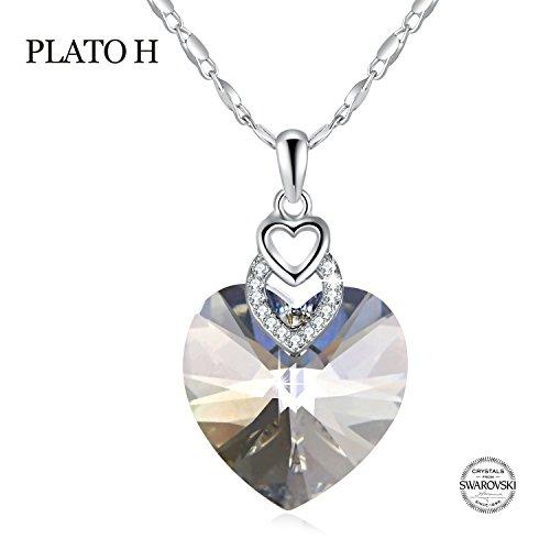 Crystal Heart Locket Necklace - PLATO H Bu Neng Shan